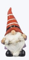 """6"""" Polyresin Halloween Gnome With Orange Striped Hat Holding a Skull Garland"""