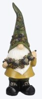 """12"""" Polyresin Fall Gnome With Green Hat Holding Acorn Garland"""