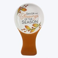 """8"""" Ceramic Autumn Blessings of the Season Spoon Rest With Spoon"""