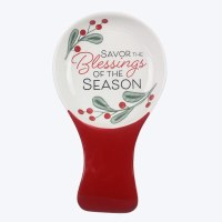 """8"""" Ceramic Christmas Holly Blessings of the Season Spoon Rest With Spoon"""