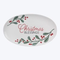 """14"""" Oval White Ceramic Christmas Blessings With Holly Serving Platter"""