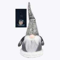 """17"""" LED Gray Gnome With Snowflake Hat and White Beard"""