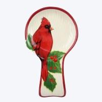 "8"" Ceramic Christmas Cardinal Ceramic Spoon Rest With Spoon"