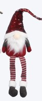 """28"""" Sitting Gnome With Red Sequin Hat and Striped Legs"""