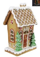 """7"""" LED One Story Gingerbread House With Fish Scale Roof"""