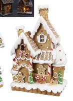 """7"""" LED Two Story Gingerbread House With Family in Front"""