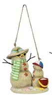 """4"""" Green Striped Scarf Sand Snowman and Child Ornament"""