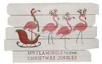 "12"" x 19"" Christmas Jingles Flamingo Wood Slat Wall Plaque"
