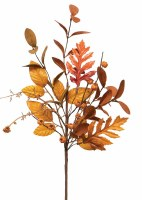 """18"""" Faux Orange and Brown Autumn Mixed Leaf Spray"""