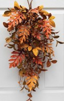 """29"""" Faux Orange and Brown Autumn Mixed Leaf Drop"""