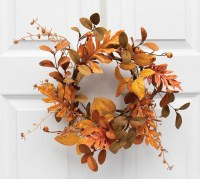 """6.5"""" Opening Faux Orange and Brown Autumn Mixed Leaf Candle Ring"""