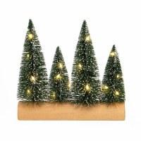 "8"" LED Four Green Bristle Trees on Natural Wood Log Base"