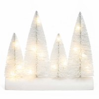 "8"" LED Four White Bristle Trees on White Wood Log Base"