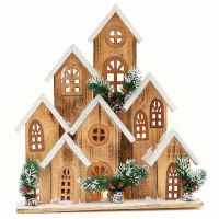 """17"""" x 15"""" LED Alpine Wood Winter Village With Seven Buildings"""