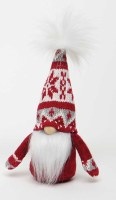 """8"""" Red and White Gnome With Snowflake Patterned Sweater Hat"""