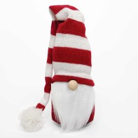 """6"""" Gnome With Red and White Striped Knit Stocking Cap"""