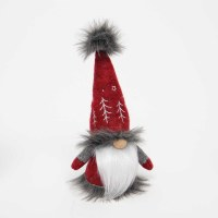 """8"""" Red and Gray Fur Lined Gnome With Embroidered Tree Hat"""