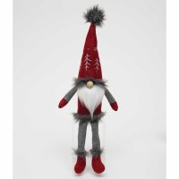 """18"""" Red and Gray Fur Lined Shelf Sitter Gnome With Embroidered Tree Hat"""