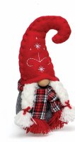 """7"""" Red and Gray Girl Gnome With Plaid Scarf and Red Embroidered Hat"""