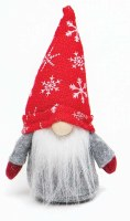 """6"""" Red and Gray Gnome With Red and White Snowflake Hat"""