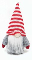 """6"""" Red and Gray Gnome With Red and White Striped Hat"""