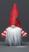 """6"""" Red Gnome With Gray Patch on Hat and Striped Arms"""