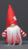 """6"""" Red Gnome With White Patch on Hat and Striped Arms"""