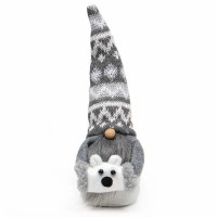 """8"""" Gray and White Sweater Hat Gnome With Polar Bear Muff"""