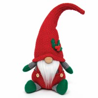 """9"""" Red and Green Gnome With Red Knitted Hat and Holly Sprig"""
