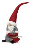 """17"""" Gray and Red Christmas Gnome Dragging a Red Bag"""