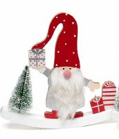 """8"""" Red and Gray Wood Gnome With Polka Dot Hat and Presents"""