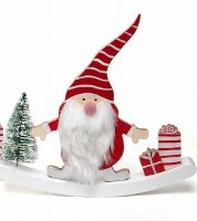 """8"""" Red and White Wood Gnome With Striped Hat and Presents"""