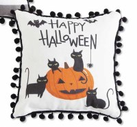 """9"""" Square Happy Halloween Pumpkin and Cats Pillow"""