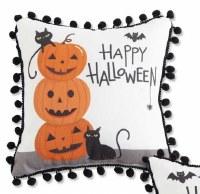 "9"" Square Happy Halloween Triple Pumpkin Pillow"