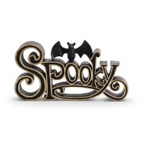 """10"""" Black and Gold Polyresin Spooky Sign With Black Glitter Bat"""