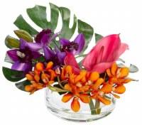"8"" Faux Purple, Orange and Pink Orchid Anthurium Tropical Glass Bowl"