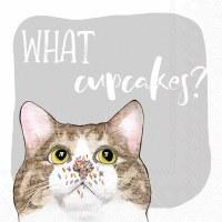"""5"""" Square What Cupcakes Cat Beverage Napkins"""