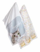 """Set of 2 28"""" x 18"""" What Cupcakes Cat Kitchen Towels"""