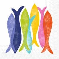 """5"""" Square Multicolor Fish Beverage Napkins"""