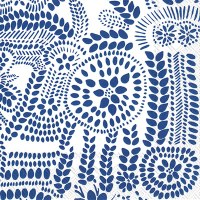 "5"" Square Navy on White Nasia Dots Beverage Napkins"