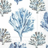 "5"" Square Light Blue Coral on White Beverage Napkins"