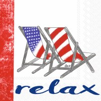"""5"""" Square Red White and Blue Relax Beach Chairs Beverage Napkins"""