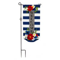 """28"""" x 13"""" Mini Blue and White Striped Floral Welcome XL Garden Flag"""