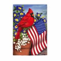 "18"" x 13"" Mini Cardinal With American Flag Suede Garden Flag"