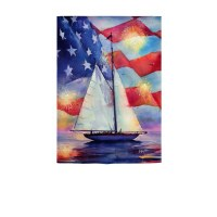 """18"""" x 13"""" Mini Red White and Blue Sailboat Flag Suede Garden Flag"""