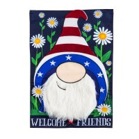 """18"""" x 13"""" Mini Red White and Blue Gnome Hat Welcome Friends Garden Flag"""
