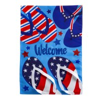 """18"""" x 13"""" Mini Red White and Blue Flip Flops Welcome Garden Flag"""