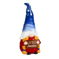 "10"" Red White and Blue Ceramic Gnome With Braids and God Bless America Sign"