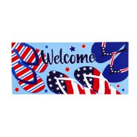 """10"""" x 22"""" Red White and Blue Flip Flop Welcome Sassafras Doormat"""