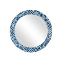 "33"" Round Blue Mosaic Diamond Pattern Bone Inlay Wall Mirror"